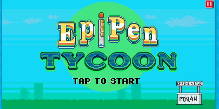 EpiPen Tycoon videogame home screen